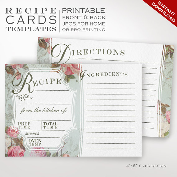 Recipe Card Template - Vintage Rose Printable Recipe Cards