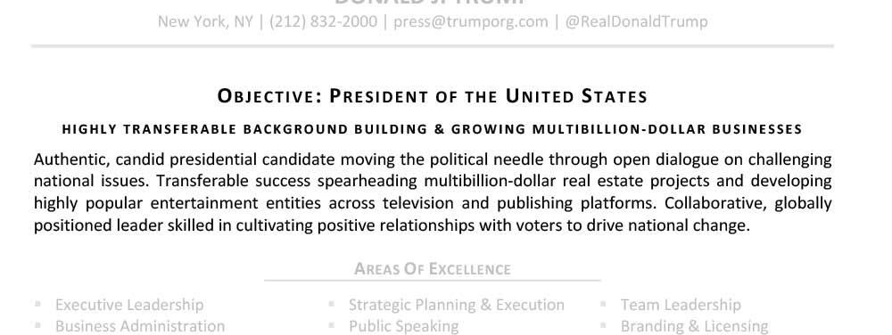 Applying for Presidency TopResume