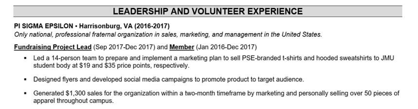 resume putting volunteer work