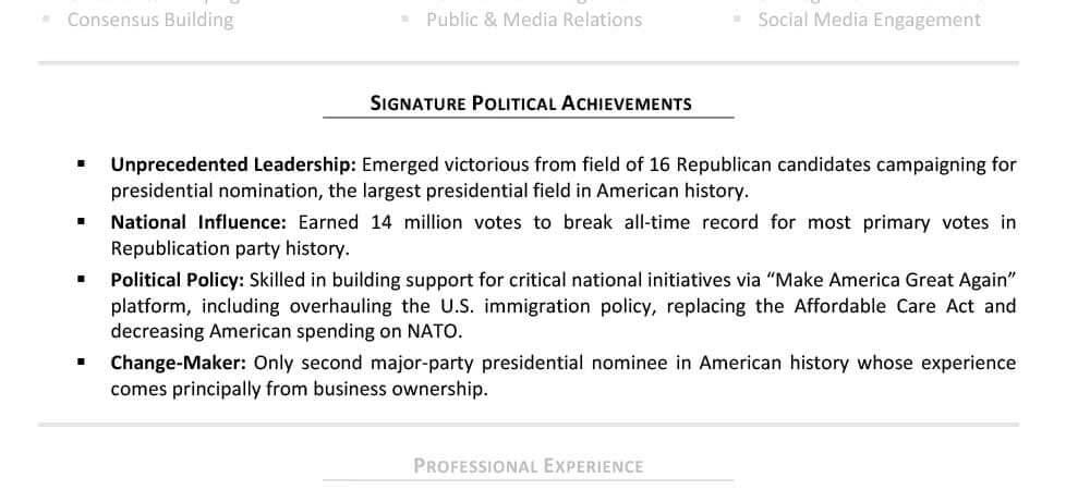 Applying for Presidency TopResume - political resume