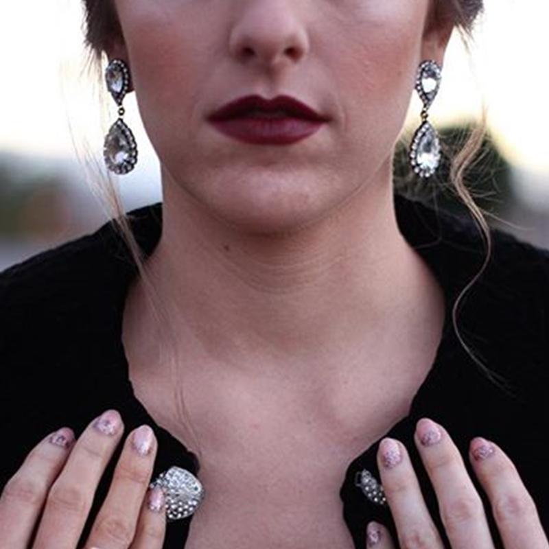 Abba Earrings in Crystal by Loren Hope