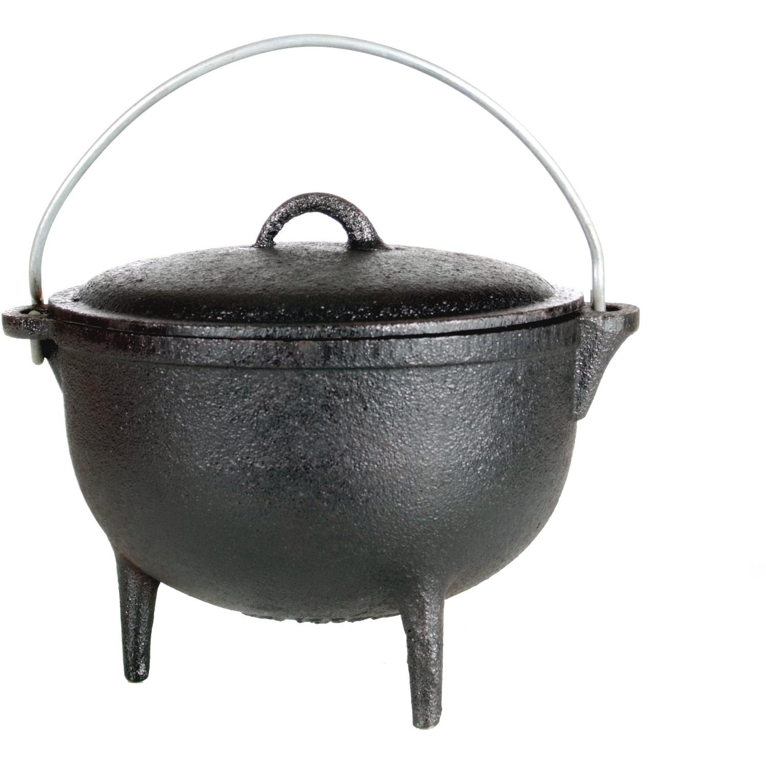 Cast Iron Pot Cajun Cookware 1 Quart Seasoned Cast Iron Camp Pot With