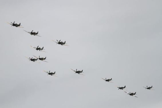12 Spitfires Fly-by at Goodwood Revival (photo: Adam Beresford)