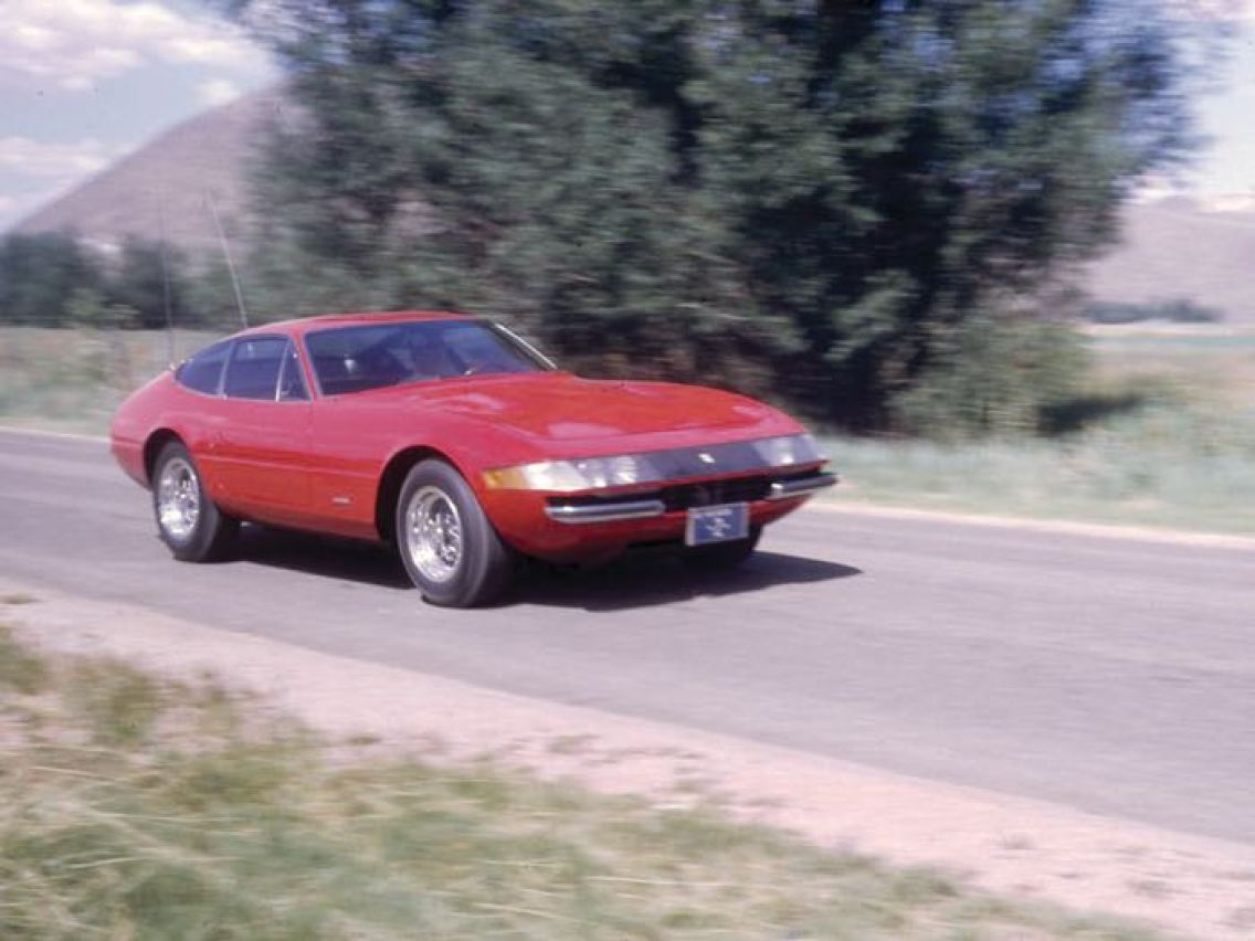 1970 Ferrari 365 GTB/4 Daytona Berlinetta in period, visibly showing its Nevada license plate and Plexiglas headlights (photo: Road & Track)