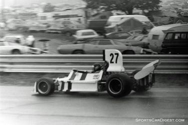 James Hunt's March with a damaged rear wing after a small Saturday shunt