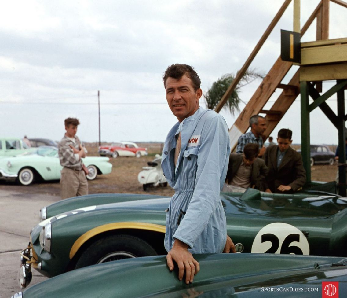 Carroll Shelby and his Aston Martin at Sebring (Jim Sitz/IMRRC photo)