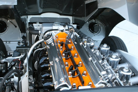 The lusty engine compartment of a Series 1 E-Type