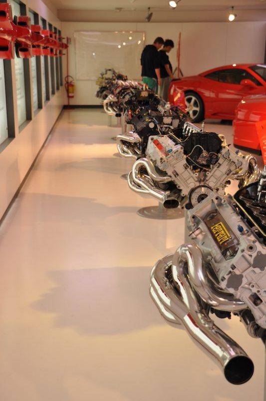 Row of Ferrari engines