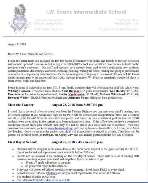 IW Evans Intermediate School - I W Evans News
