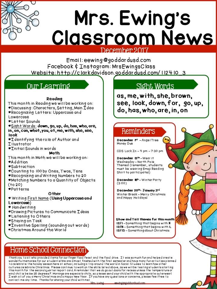 Clark Davidson Elementary School - Monthly Newsletters