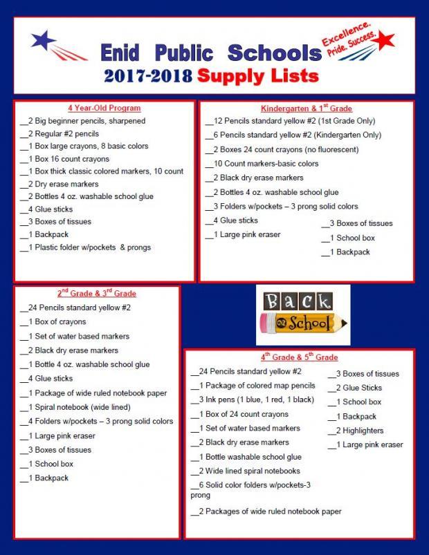 Enid Public School - 2017-18 School Supply List