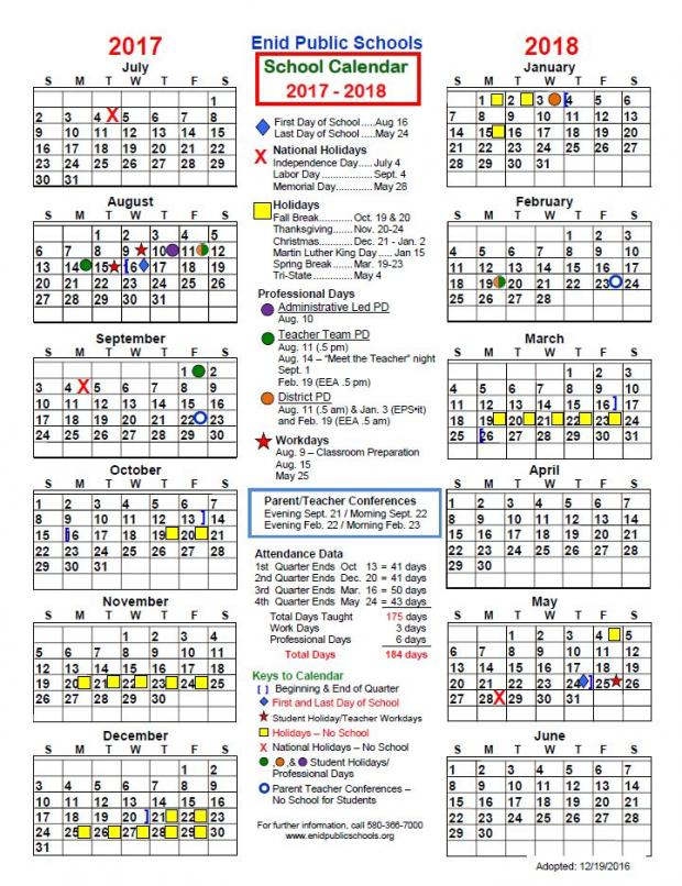 Enid Public School - 2017-18 District Calendar