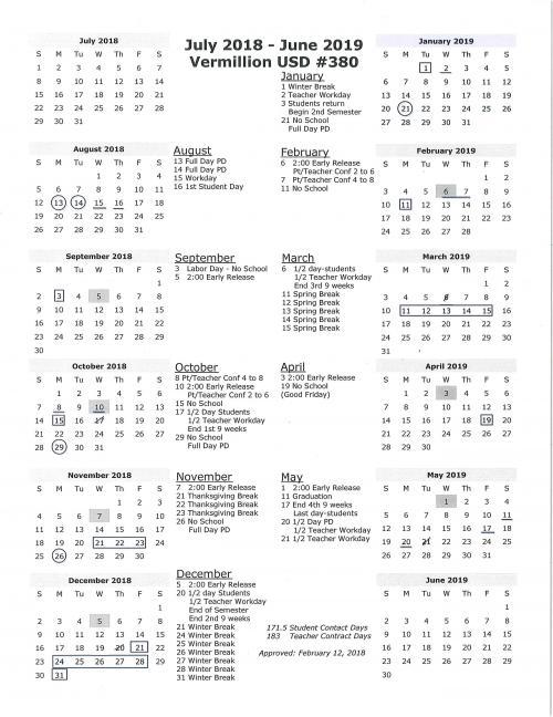 USD 380 Vermillion - District Calendar Year at a Glance