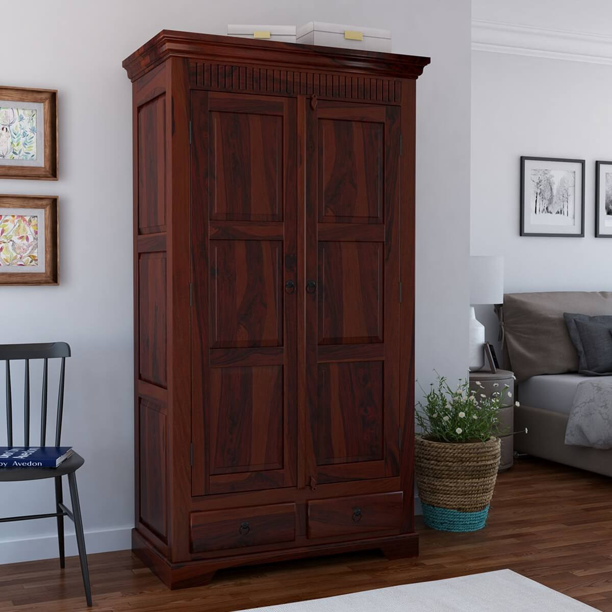 Dimension Armoire Marengo Large Rustic Solid Wood Wardrobe Armoire With Drawers