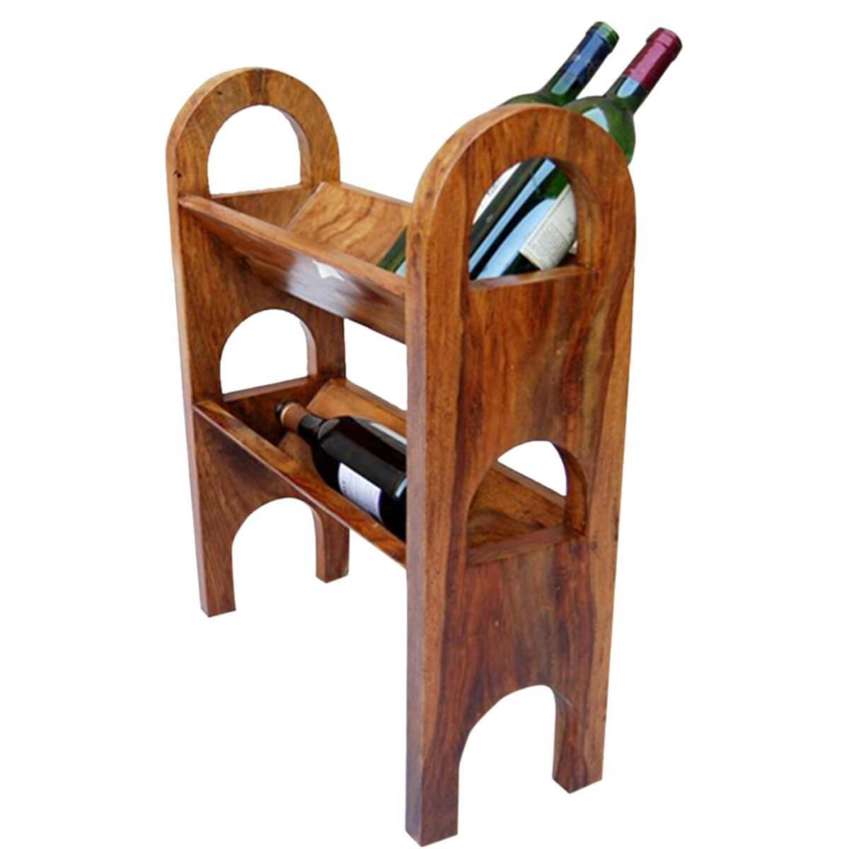 Wine Holder Stand Crosby Rustic Solid Wood Wine Rack Liquor Bottle Holder Stand