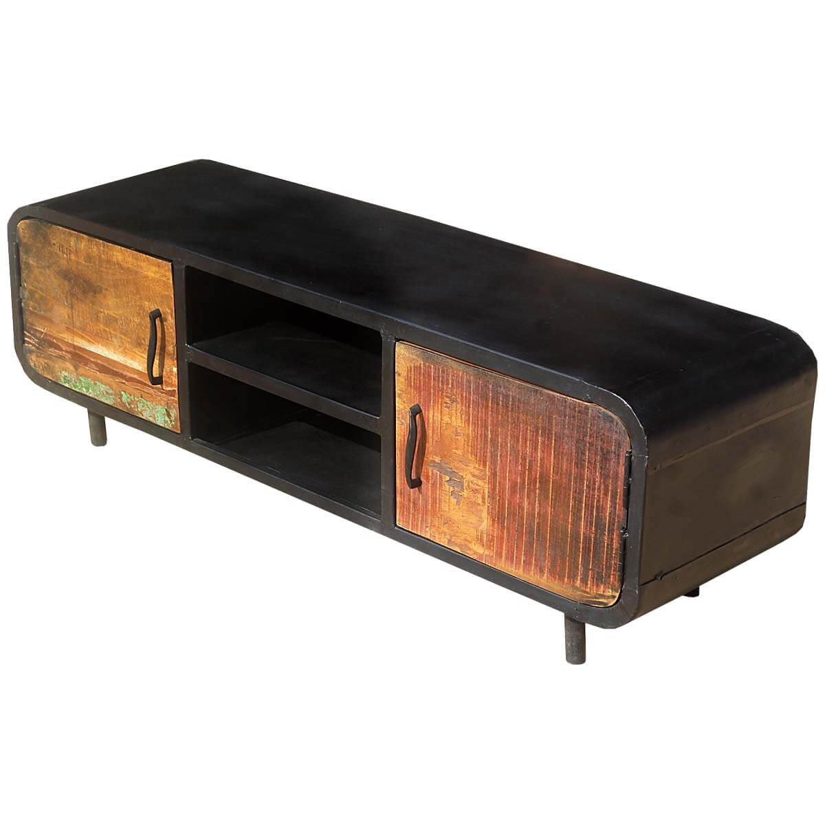 Retro Tv Cabinet 1950 S Retro Reclaimed Wood Iron Media Cabinet Tv Stand