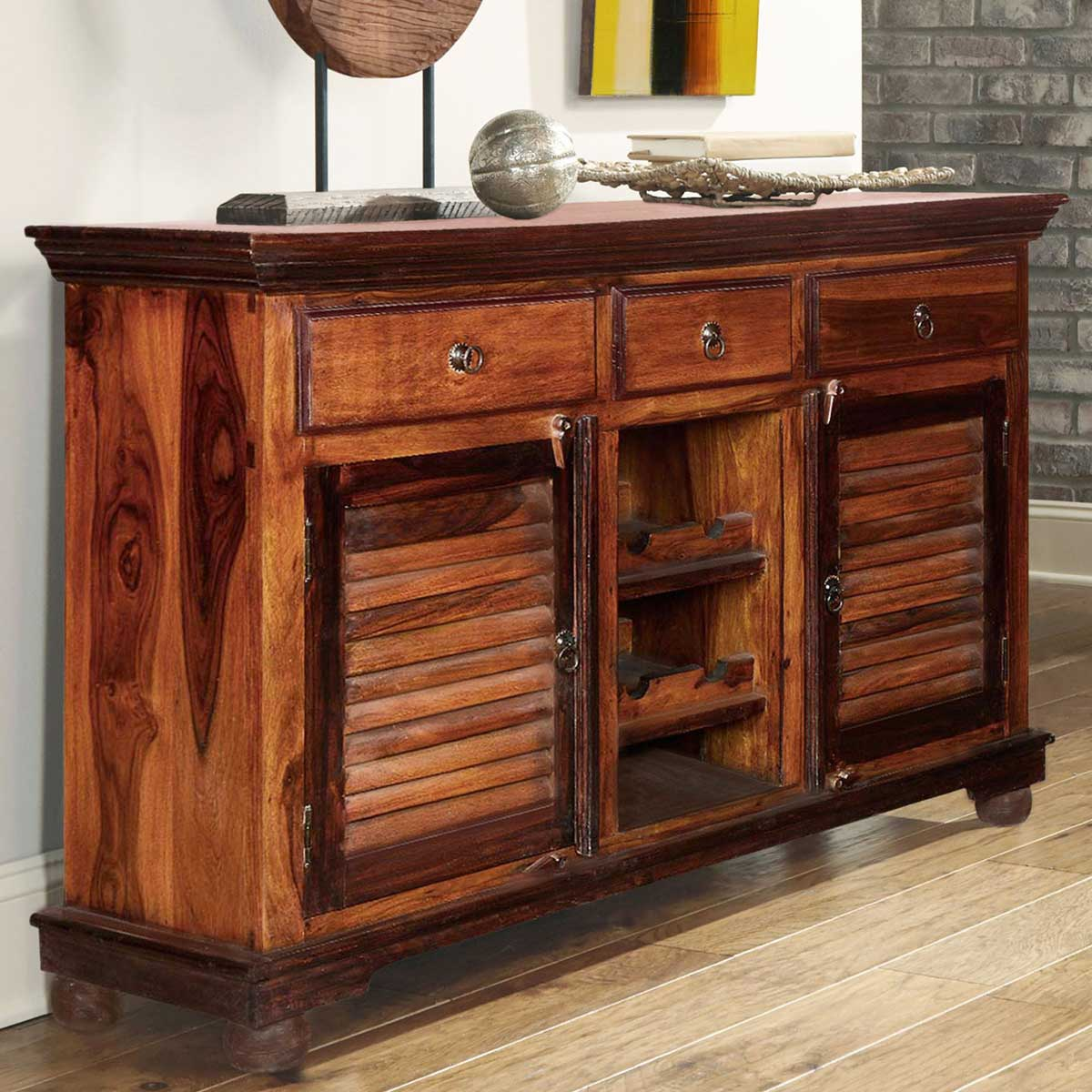 Buffet Sideboard With Wine Rack Shaker Rustic Solid Wood 3 Drawer Wine Bar Sideboard Cabinet