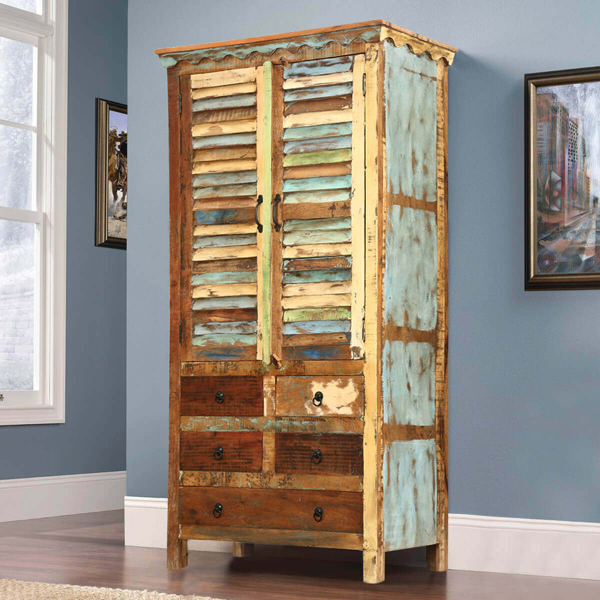 Dimension Armoire Hopedale Rustic Reclaimed Wood Shutter Door Armoire Cabinet