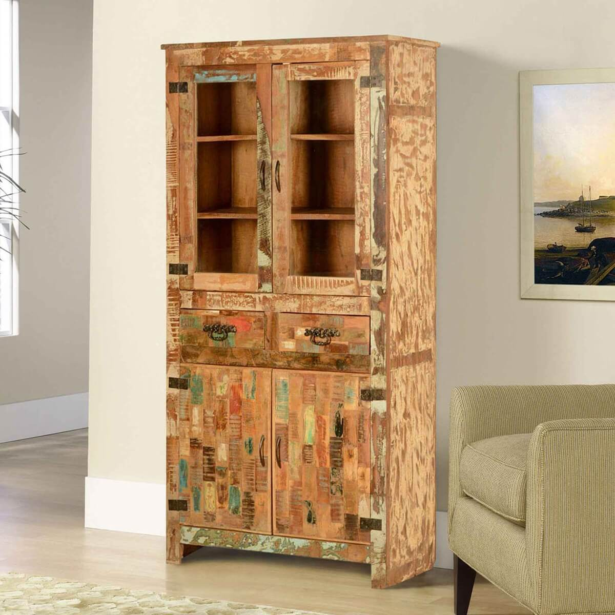 Cupboard Drawers Mondrian Rustic Reclaimed Wood 2 Drawer Tall Display Cabinet