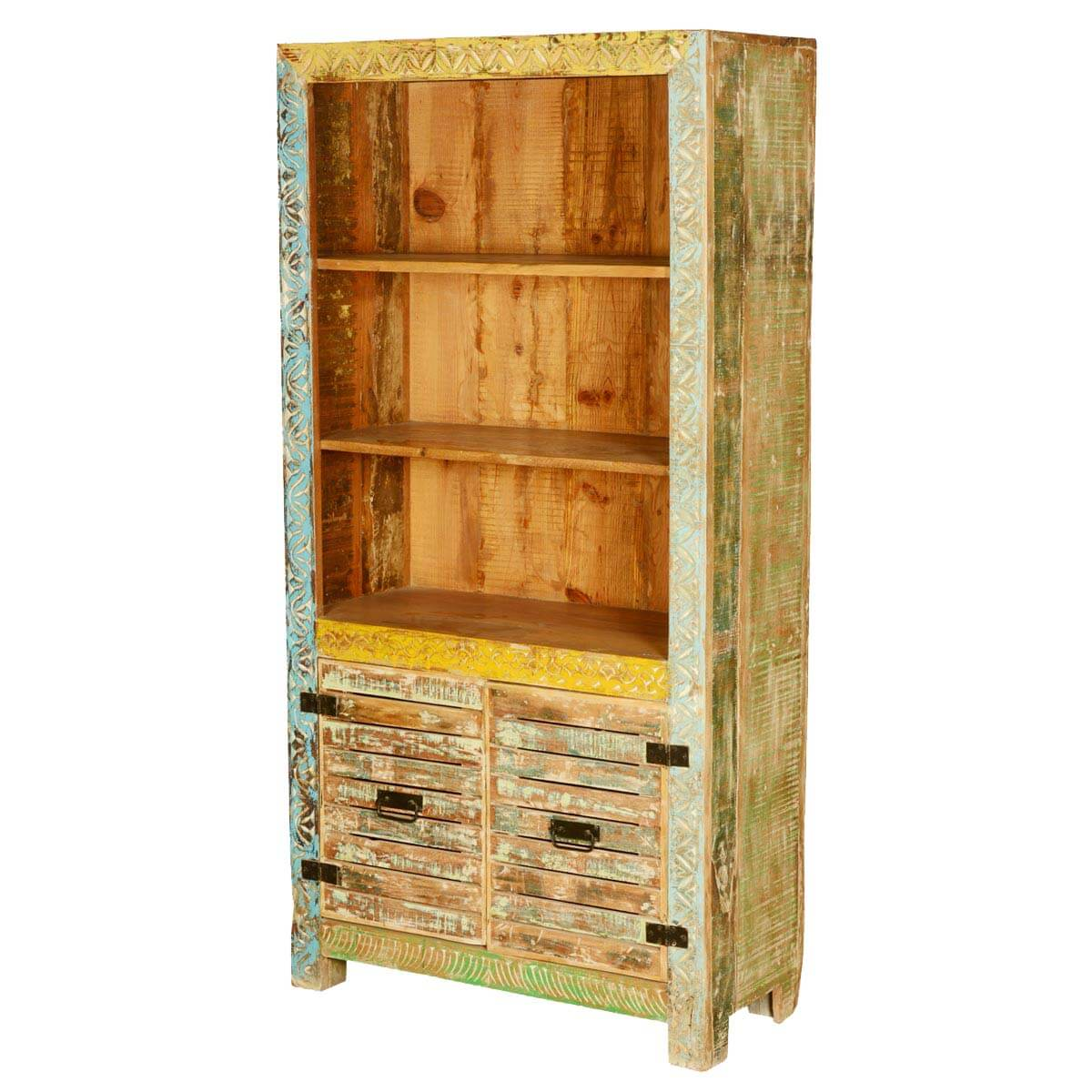 Bookcase Cabinet Castalia Solid Reclaimed Wood Open Display Home Office Bookcase Cabinet