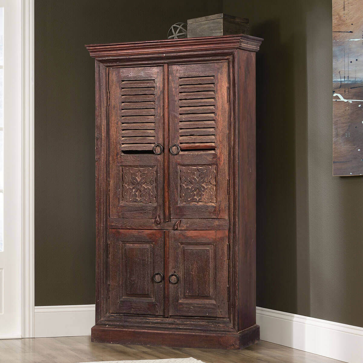 Storage Closet Aniwa Rustic Solid Reclaimed Wood 4 Door Storage Cabinet Armoire
