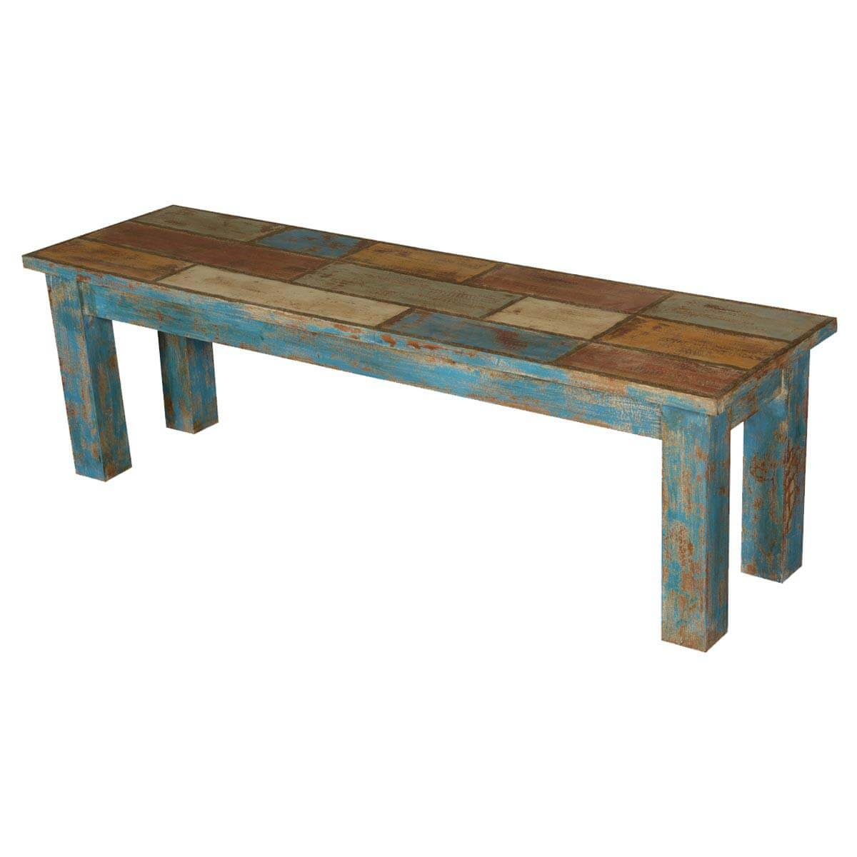 Wooden Bench Table Francis Wooden Patches Distressed Acacia Wood Bench