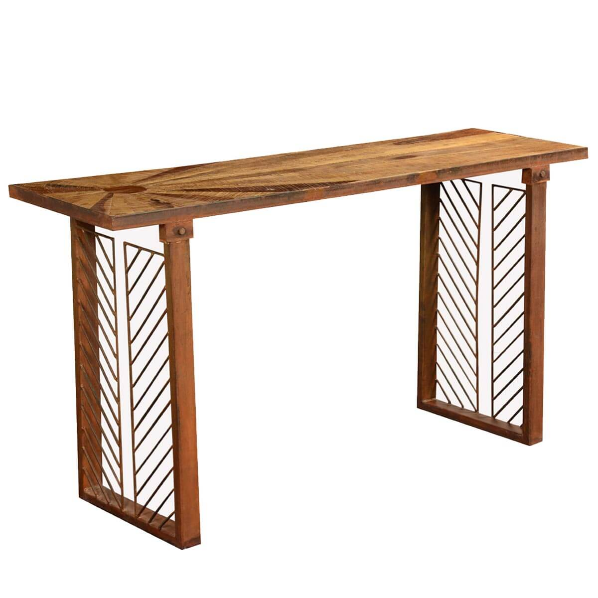 Contemporary Sunburst Reclaimed Wood Iron Hall Console Table