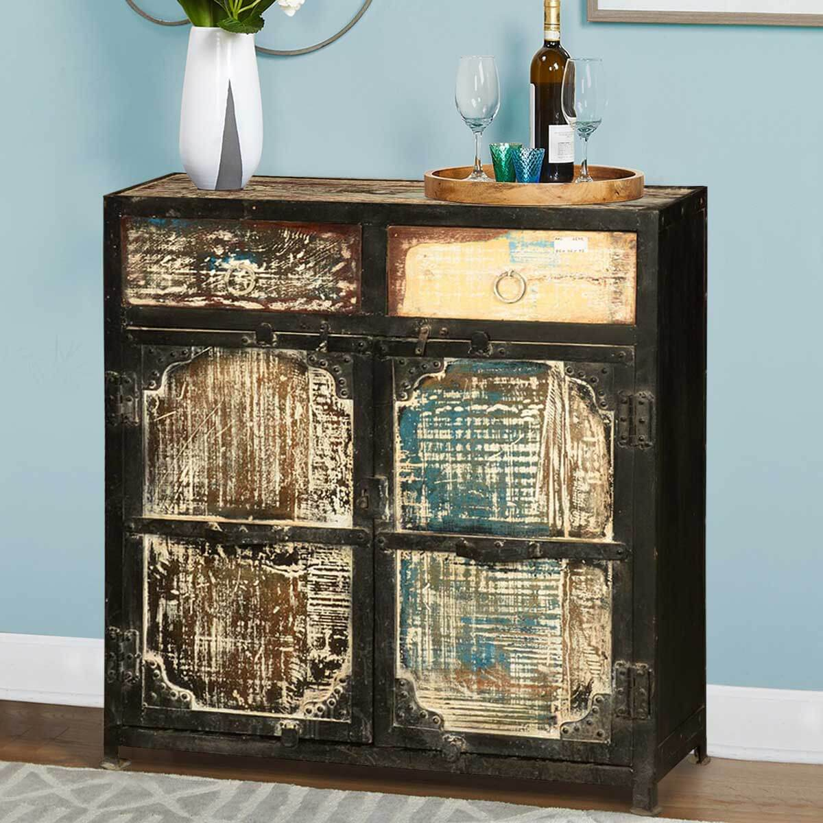 Sideboard Real Creston Rustic Reclaimed Wood 2 Drawer Industrial Buffet Cabinet