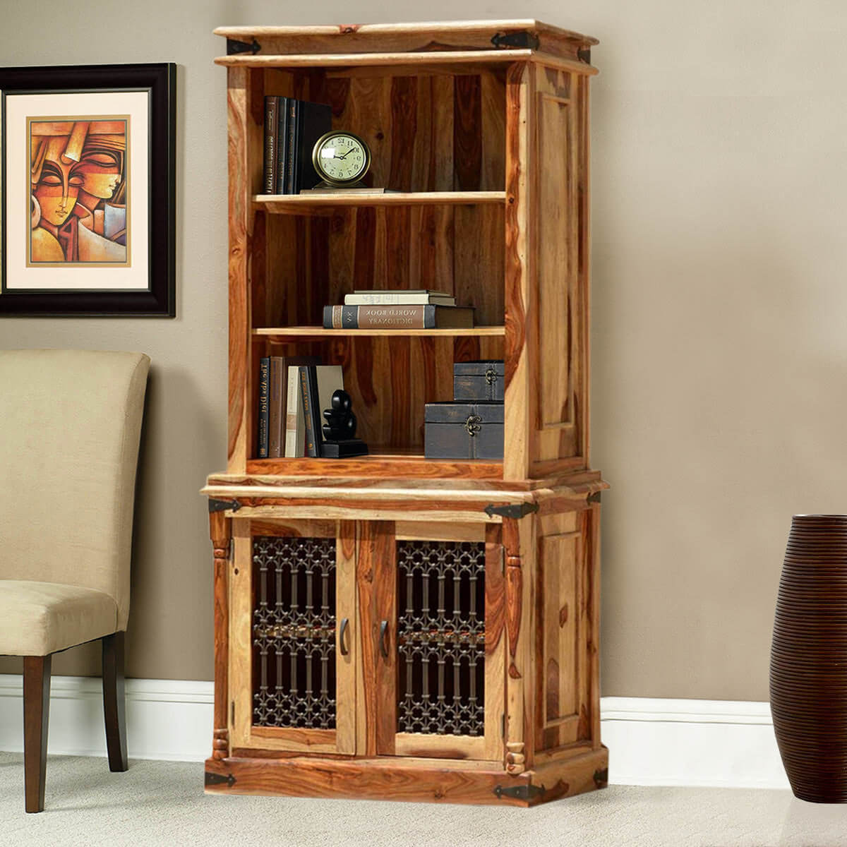 Bookcase Cabinet Dallas Solid Wood Open Breakfront Hutch Home Office Bookcase Cabinet