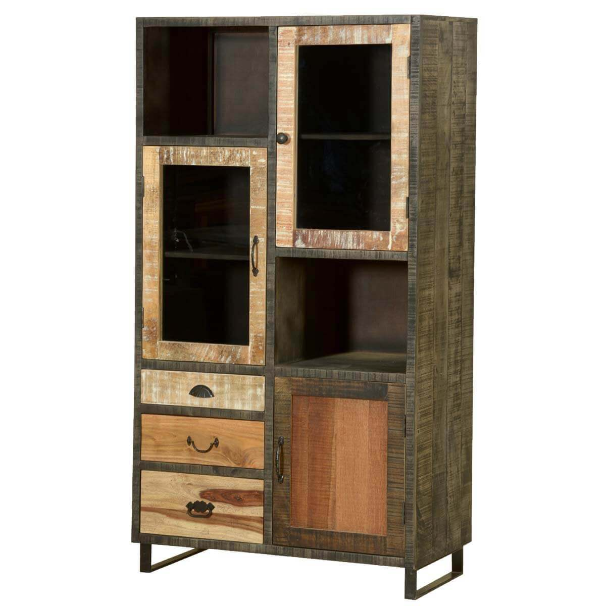 In Wall Media Cabinet Wooden Patches Mango Wood Iron Media Wall Unit Cabinet