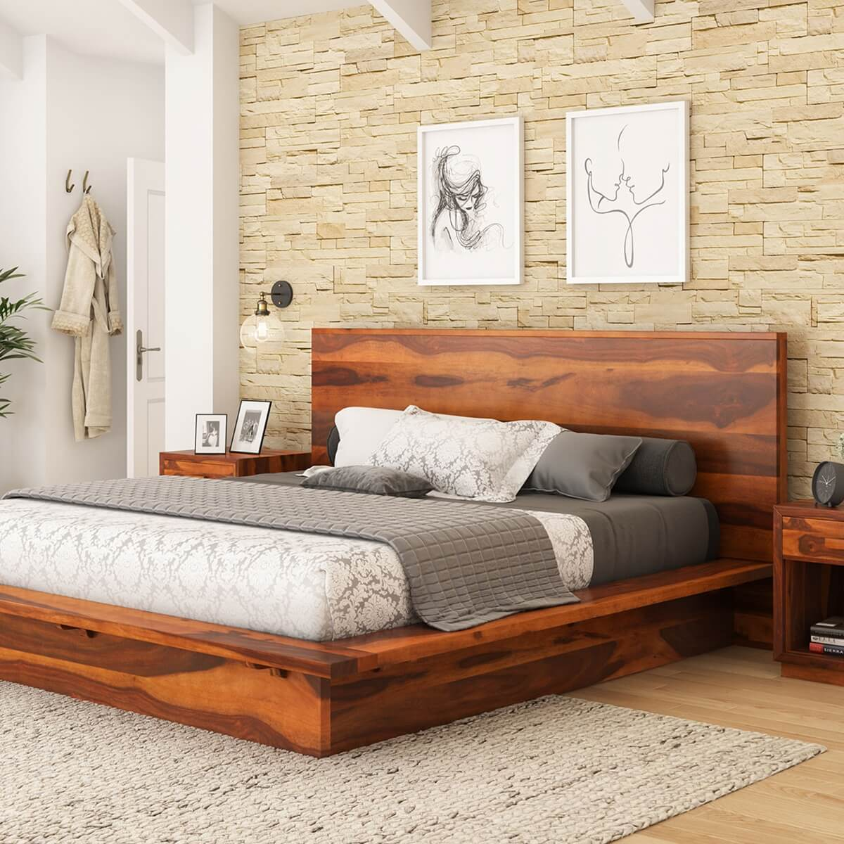 Cheap Wooden Bed Frames Delaware Solid Wood Platform Bed Frame