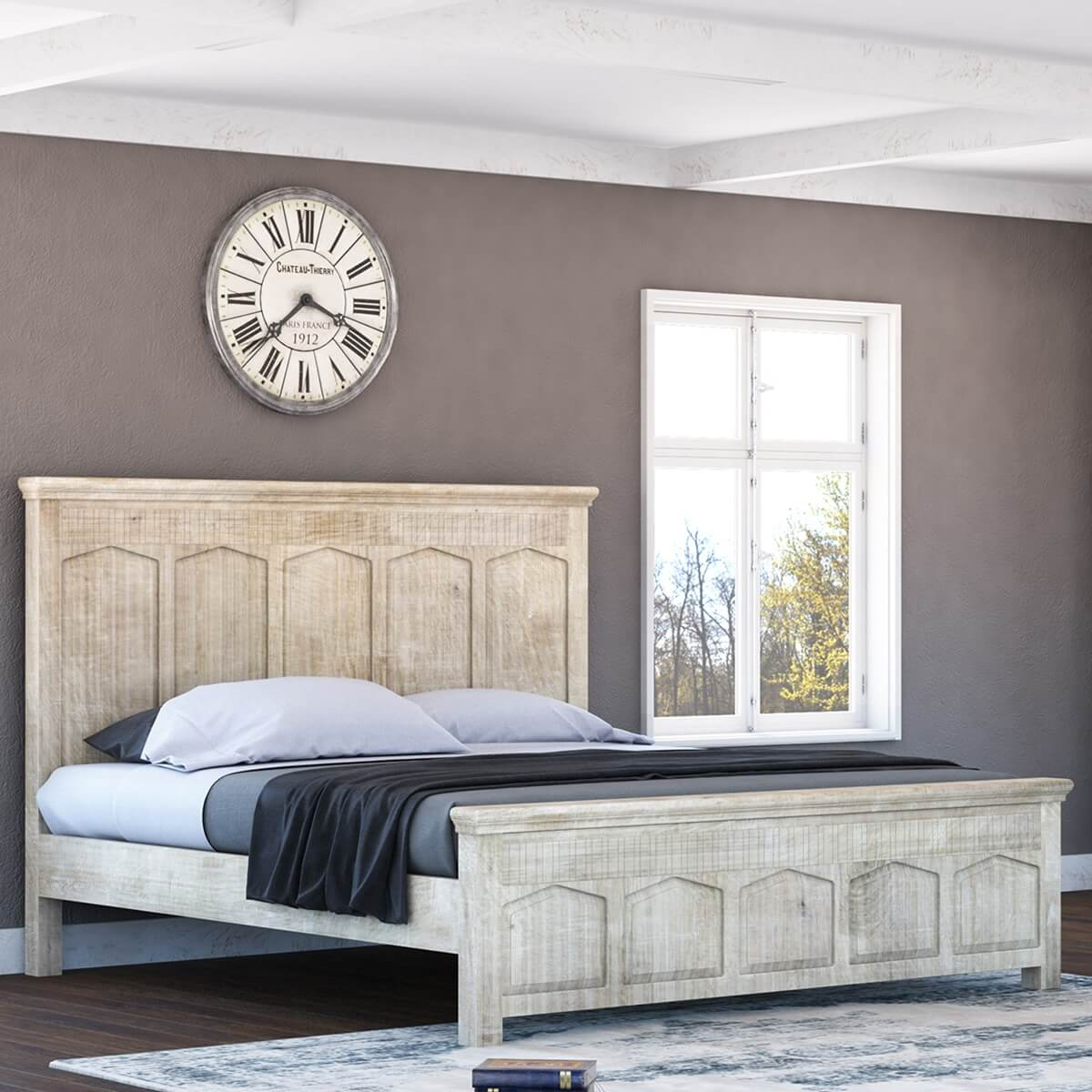 White Platform Bed Without Headboard Mission Winter White Platform Bed Frame W Footboard High Headboard