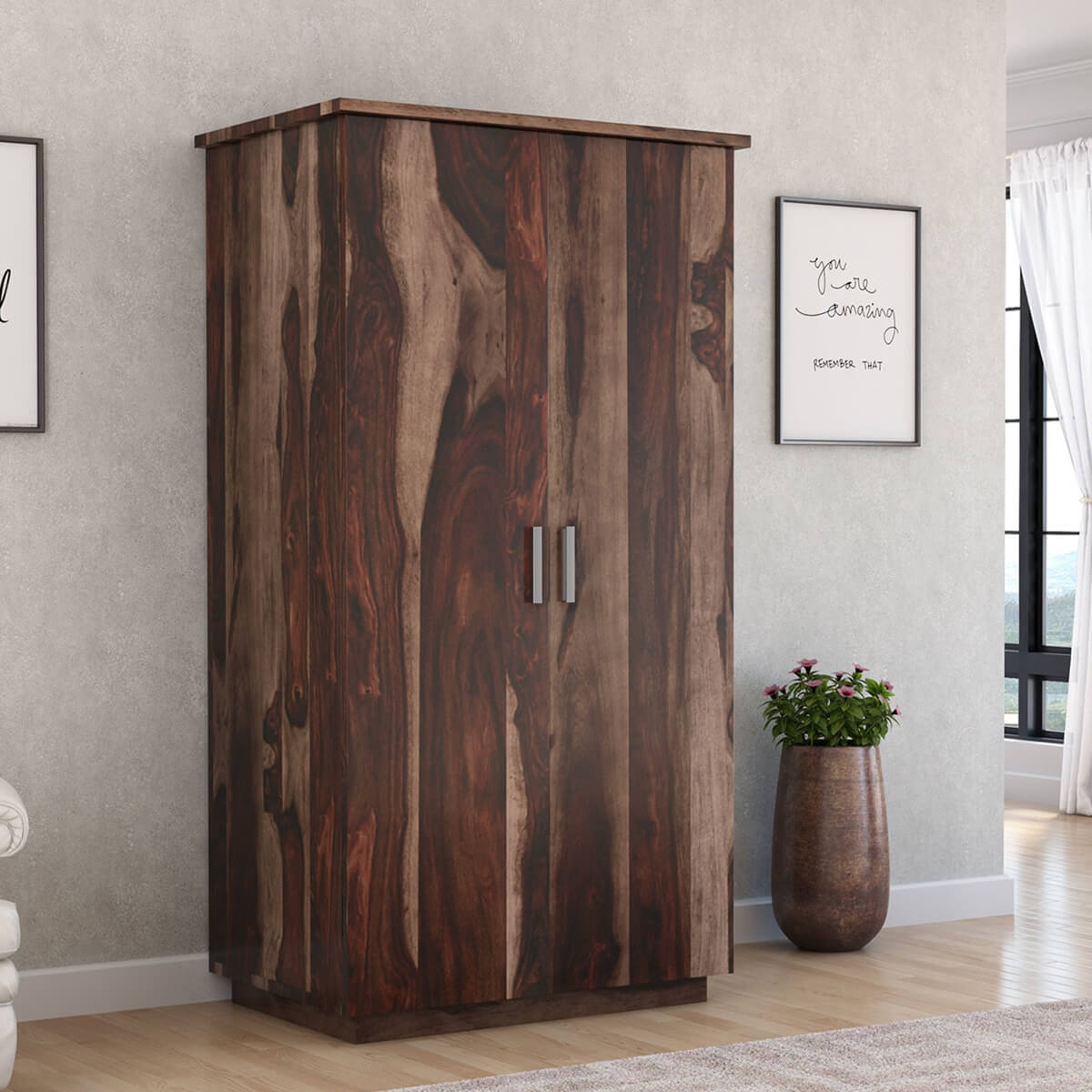 Wardrobe Furniture Indiana Rustic Solid Wood Wardrobe Armoire With Drawers And Shelves