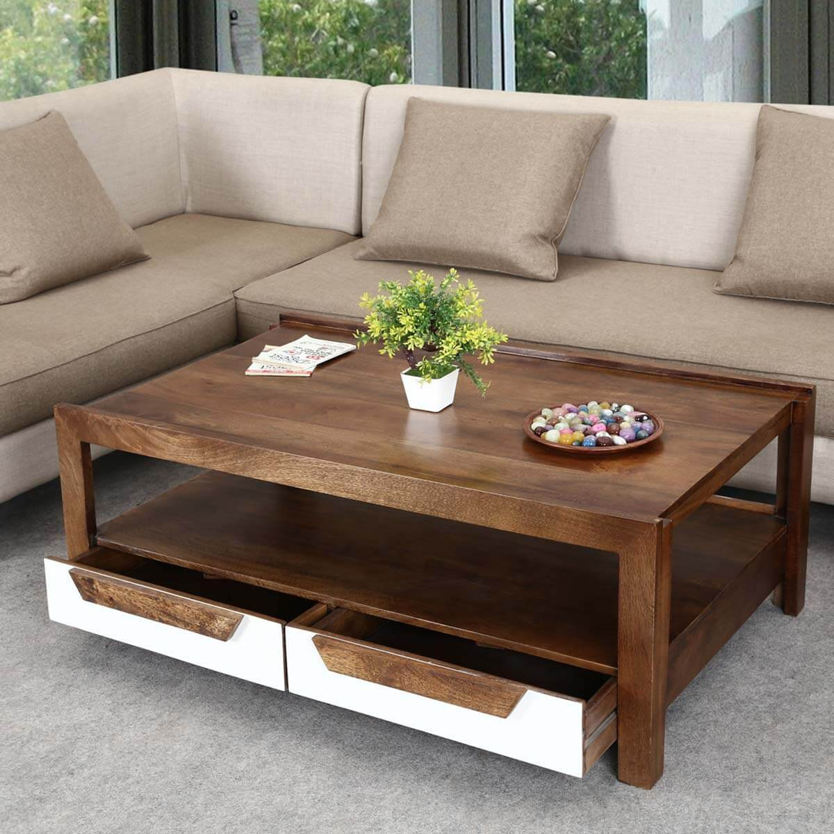 Retro Sofa Wood 60 S Retro Mango Wood 2 Tier Raised Edge Coffee Table W Drawers