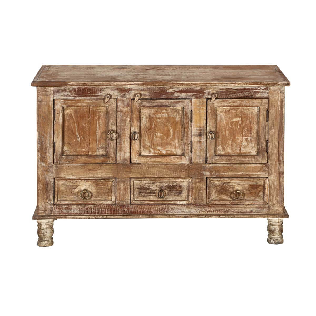 Cupboard Drawers Brice Distressed Finish 3 Door 3 Drawer Sideboard Cabinet