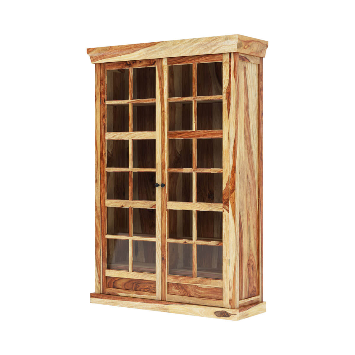 Peoria Storage Peoria Rustic Solid Wood Glass Door Large Storage Cabinet
