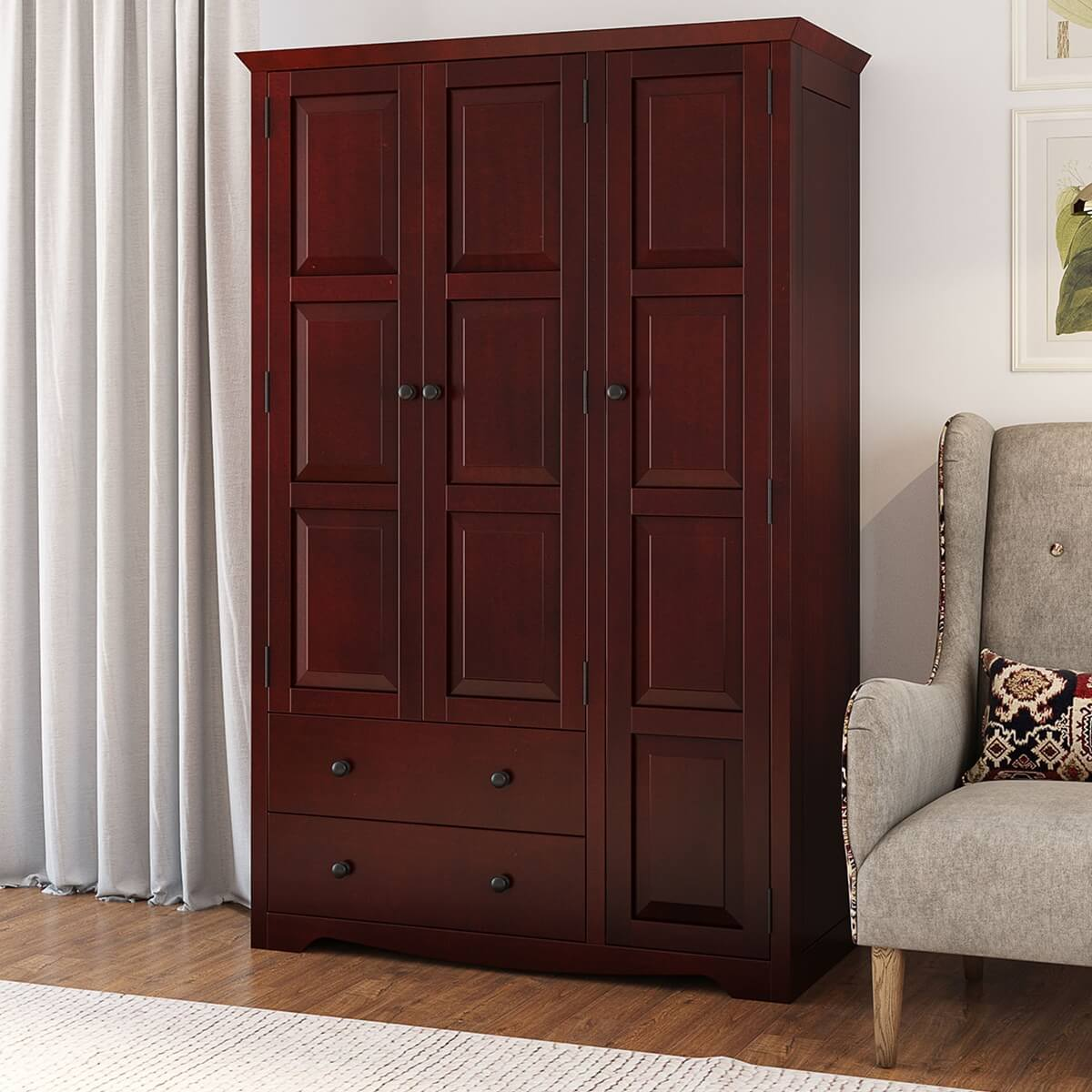 Dimension Armoire Dakota Rustic Solid Mahogany Wood Large Wardrobe Armoire With Drawers