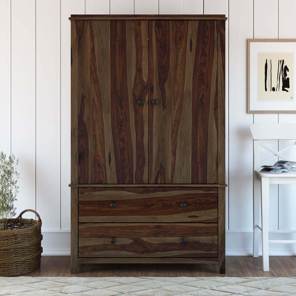 Dimension Armoire Bozeman Rustic Solid Wood Wardrobe Large Armoire With Drawers