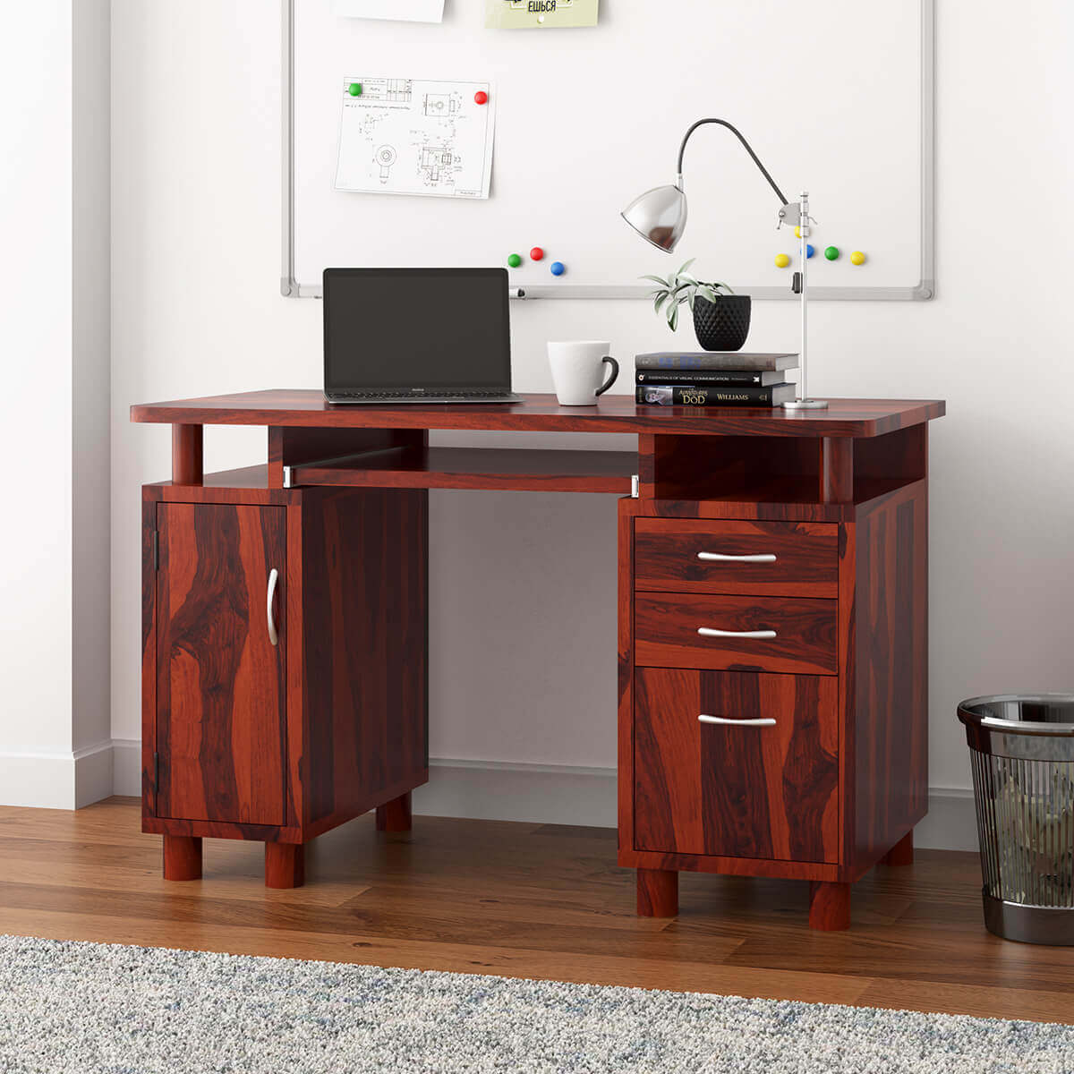Solid Wood File Cabinet Picacho Solid Wood Home Office Computer Desk With File Cabinet