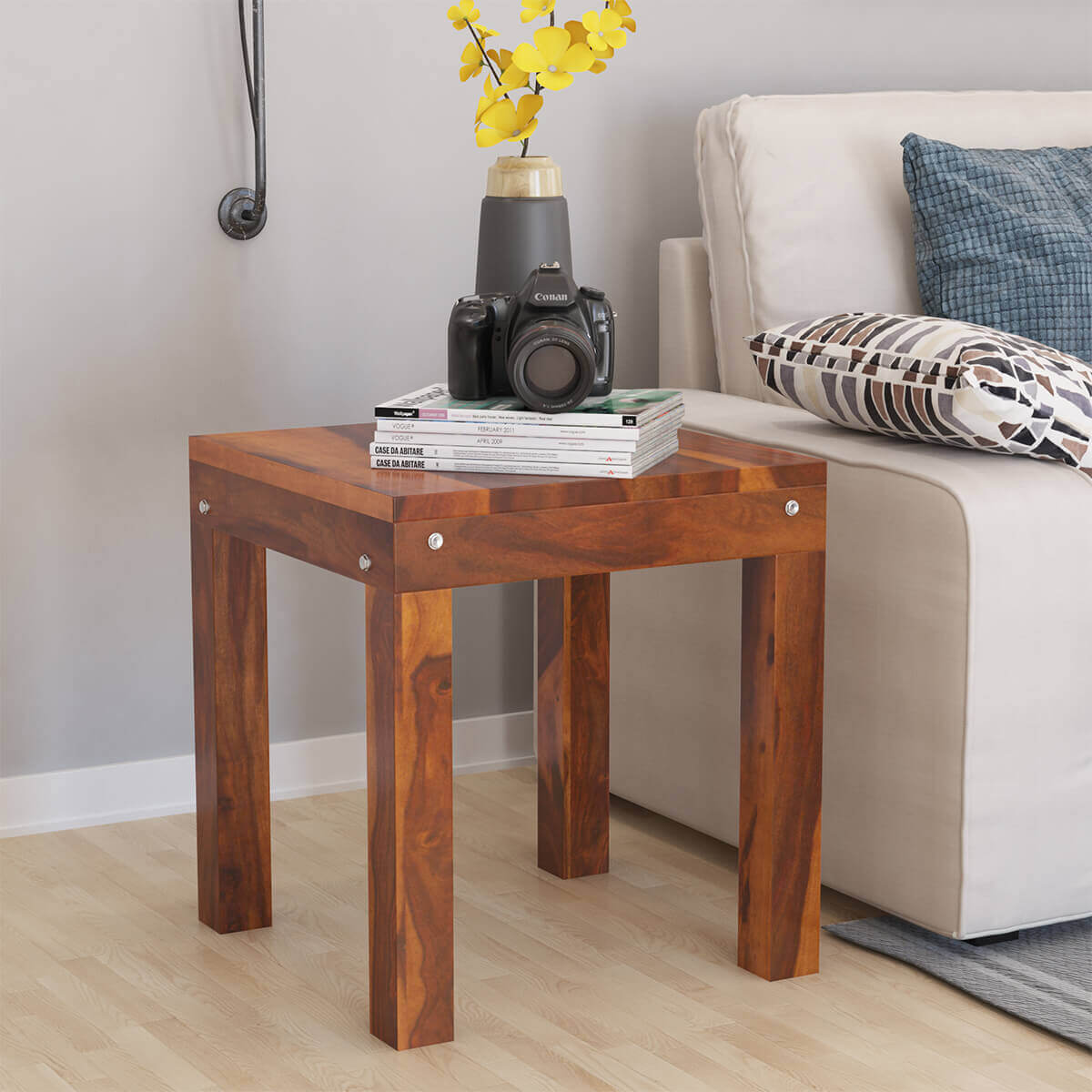 Rustic Wood End Table Patet Rustic Style Solid Wood End Table