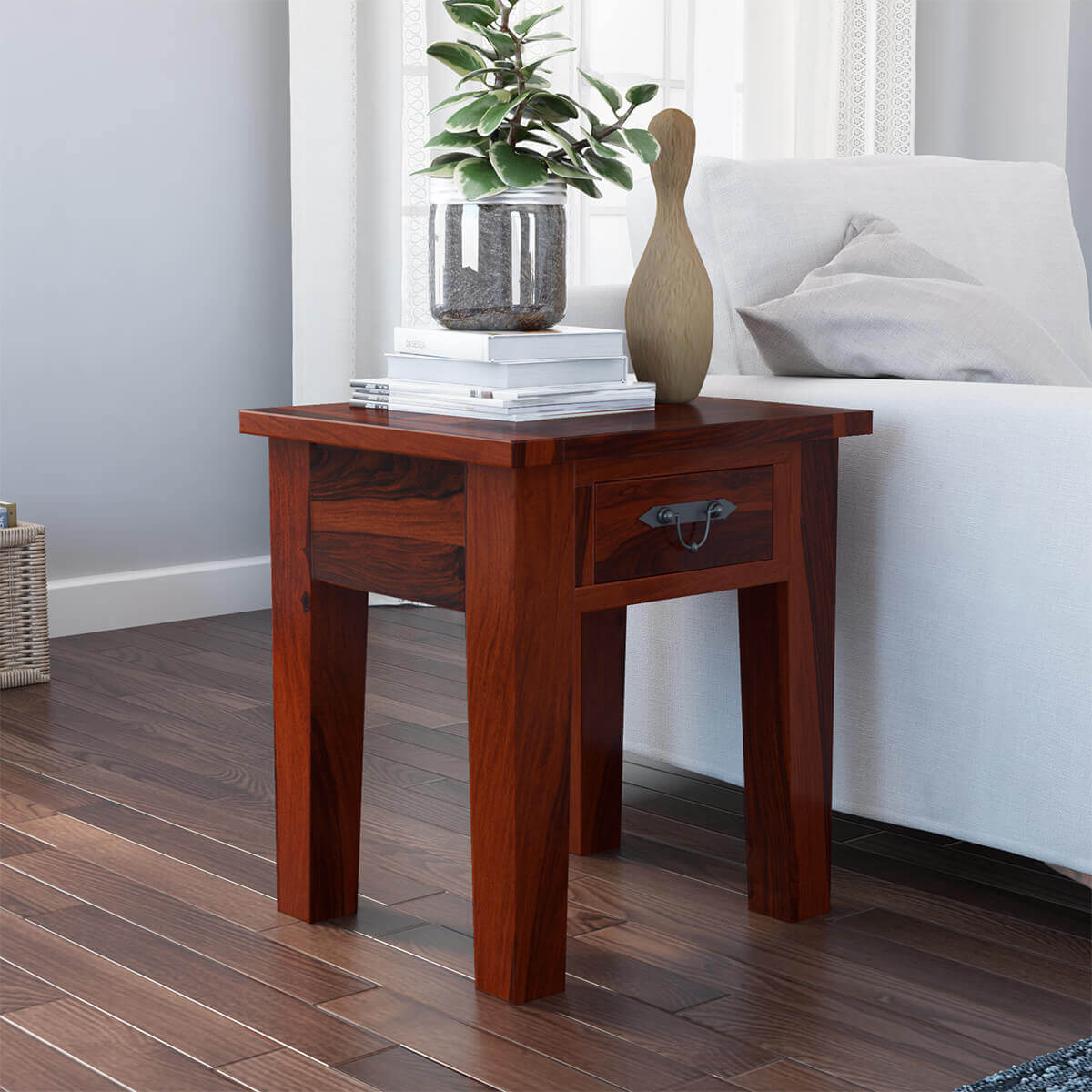 Rustic Wood End Table Tierra Rustic Solid Wood 1 Drawer End Table