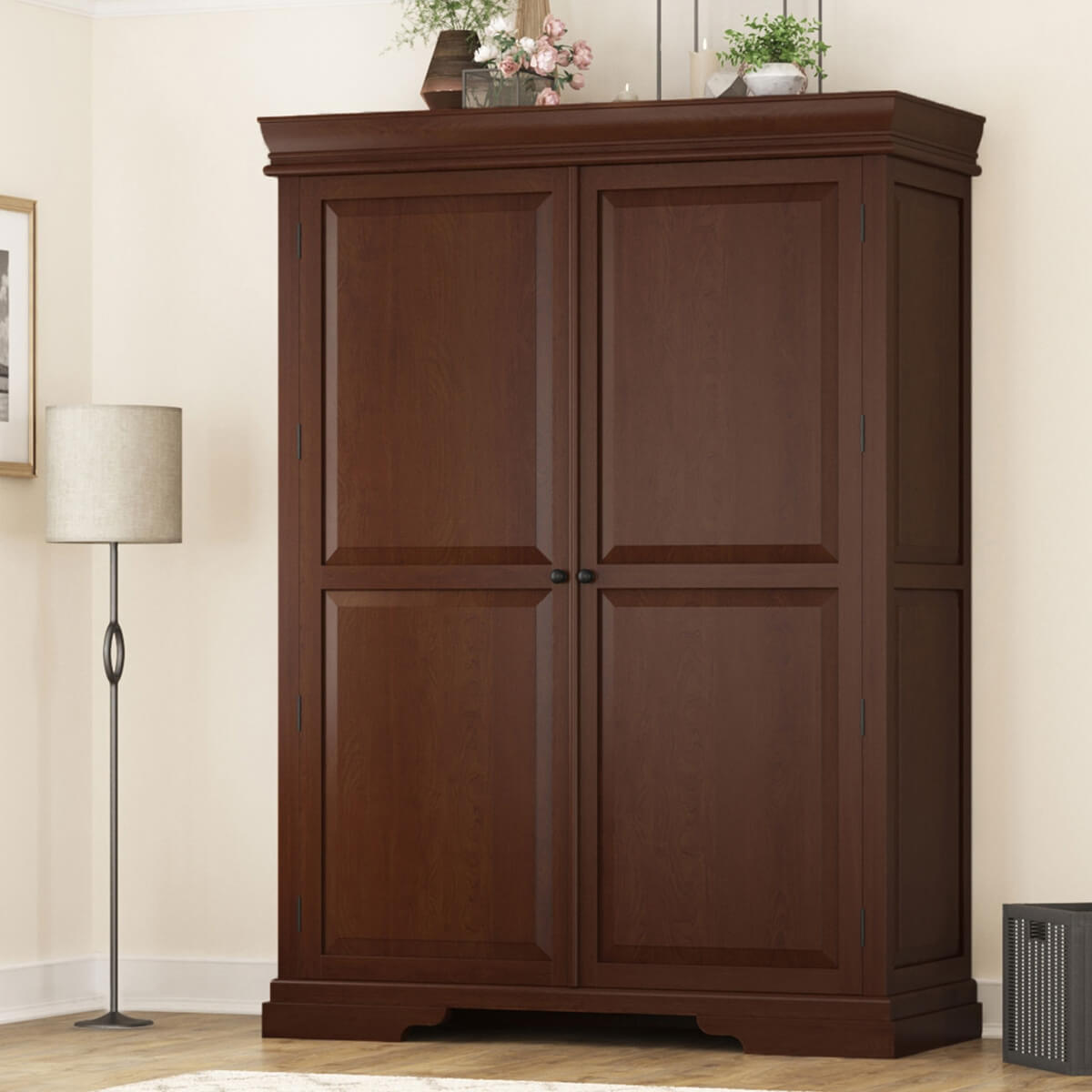 Dimension Armoire Accoville Mahogany Wood Large Bedroom Clothing Armoire With Shelves