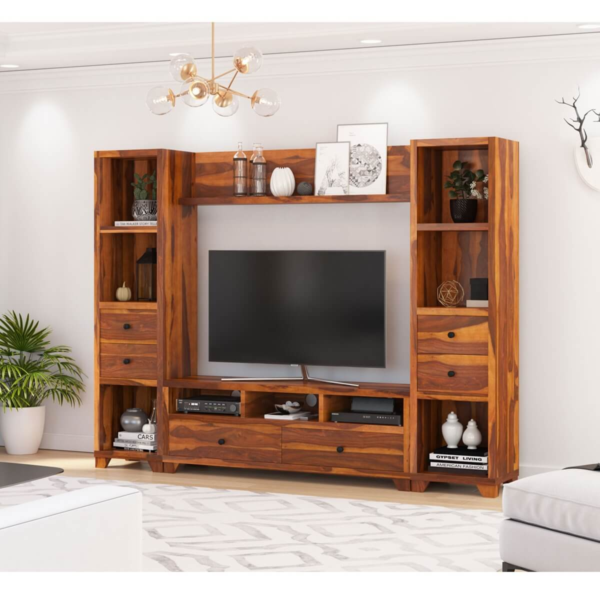 Large Wall Units For Living Room Traver Rosewood Wall Unit Tv Console Entertainment Center