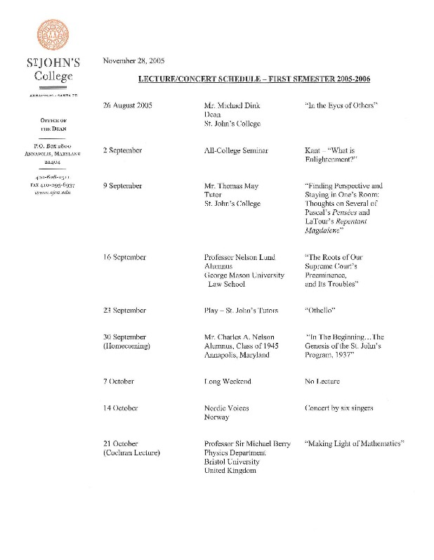 Lecture/Concert Schedule - First Semester 2005-2006  Second