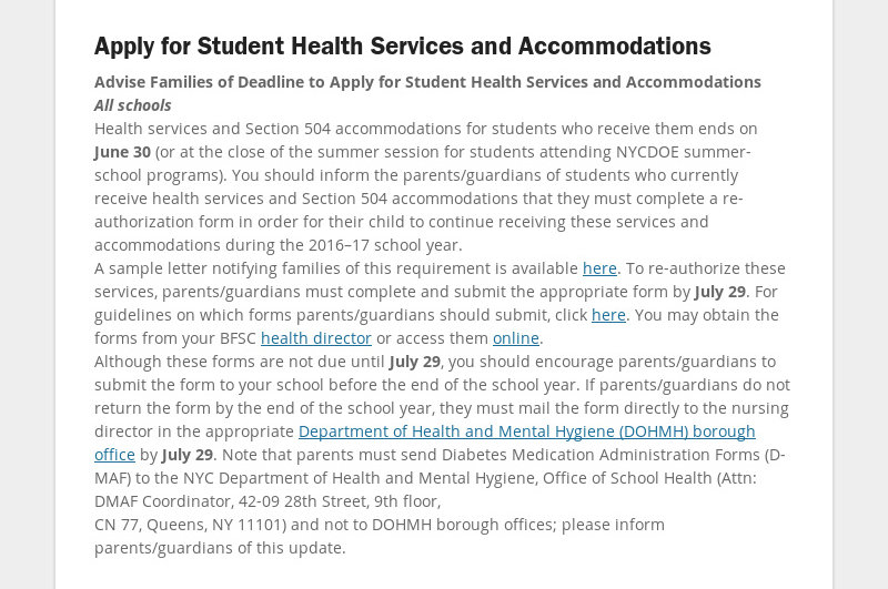 Apply for Student Health Services and Accommodations Advise Families of Deadline to Apply for...