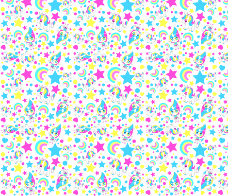 Cute Emoji Wallpapers For Girls Kawaii Rainbow Unicorn Pattern Fabric Katbrunnegraff