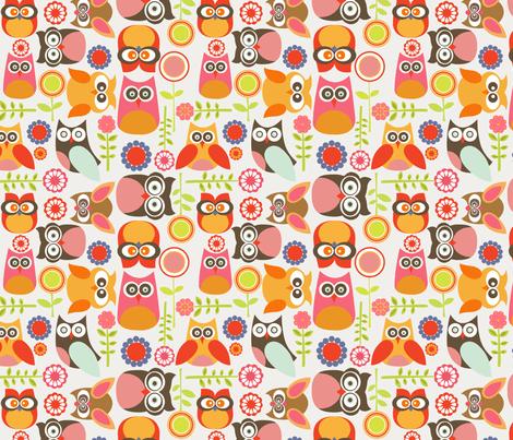 Fall Owl Wallpaper Cute Little Owls Fabric Valentinaharper Spoonflower