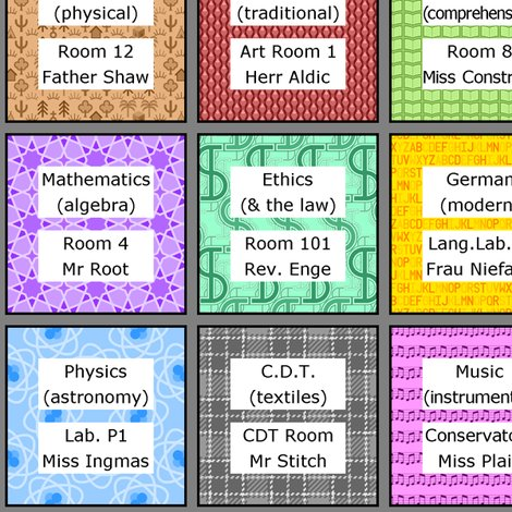 01378614  class timetable entries fabric - sef - Spoonflower