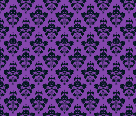 Black Velvet Damask Wallpaper Jack O Lantern Damask Purple Black Fabric Pi Ratical