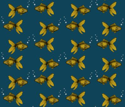 Goldfish Mustard and Teal fabric - bella_modiste - Spoonflower